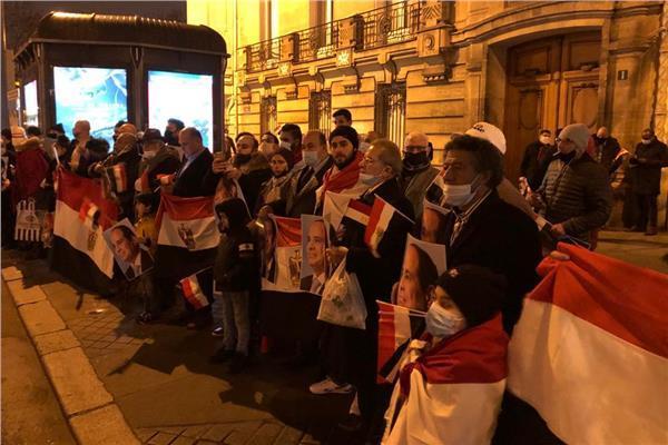 الجالية المصرية بفرنسا تنظم وفقة ترحيب وتأييد ثانية للرئيس السيسي