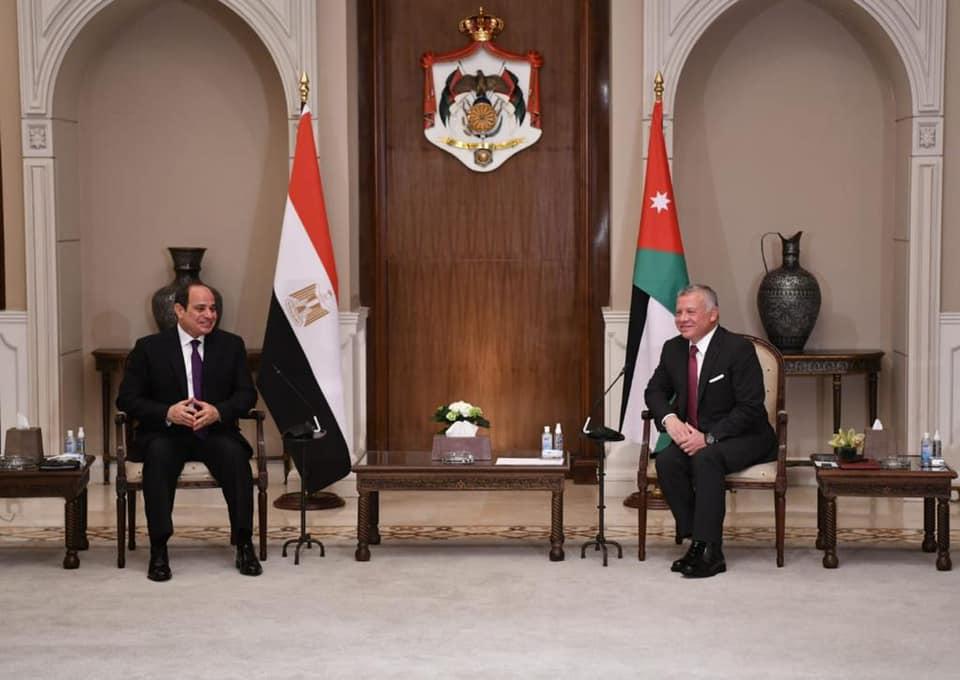 صور | الرئيس السيسي والعاهل الأردني يتوافقان حول حشد جهود المجتمع الدولي لتسويات أزمات المنطقة