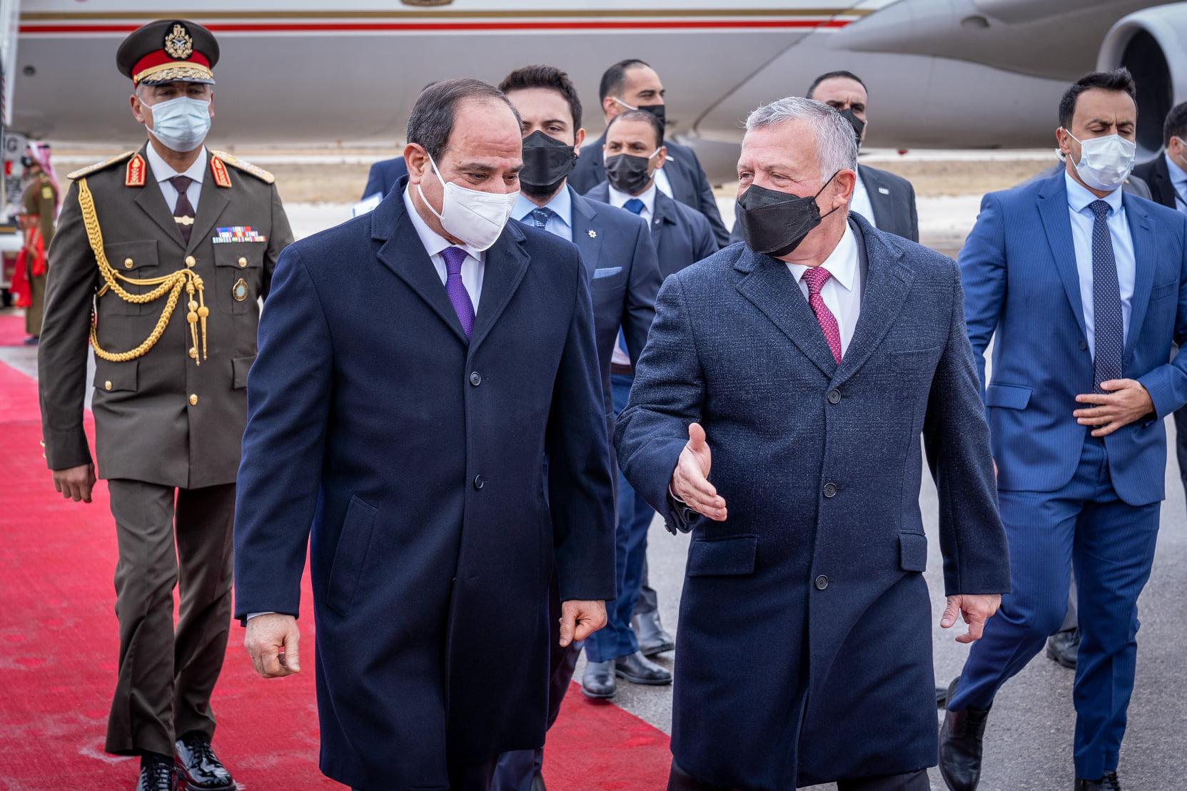 الرئيس السيسي يصل الأردن لعقد قمة ثنائية مع الملك عبدالله الثانى