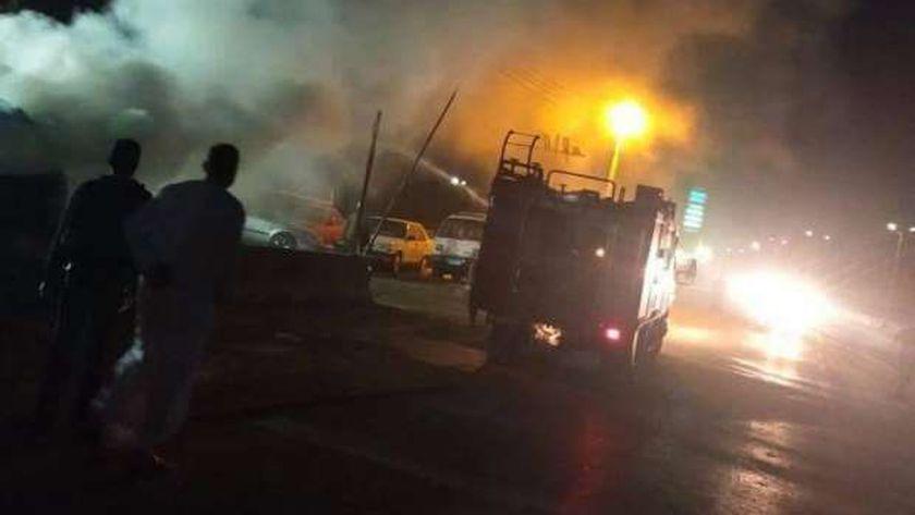انفجار سيارة على الطريق الزراعي بالقليوبية