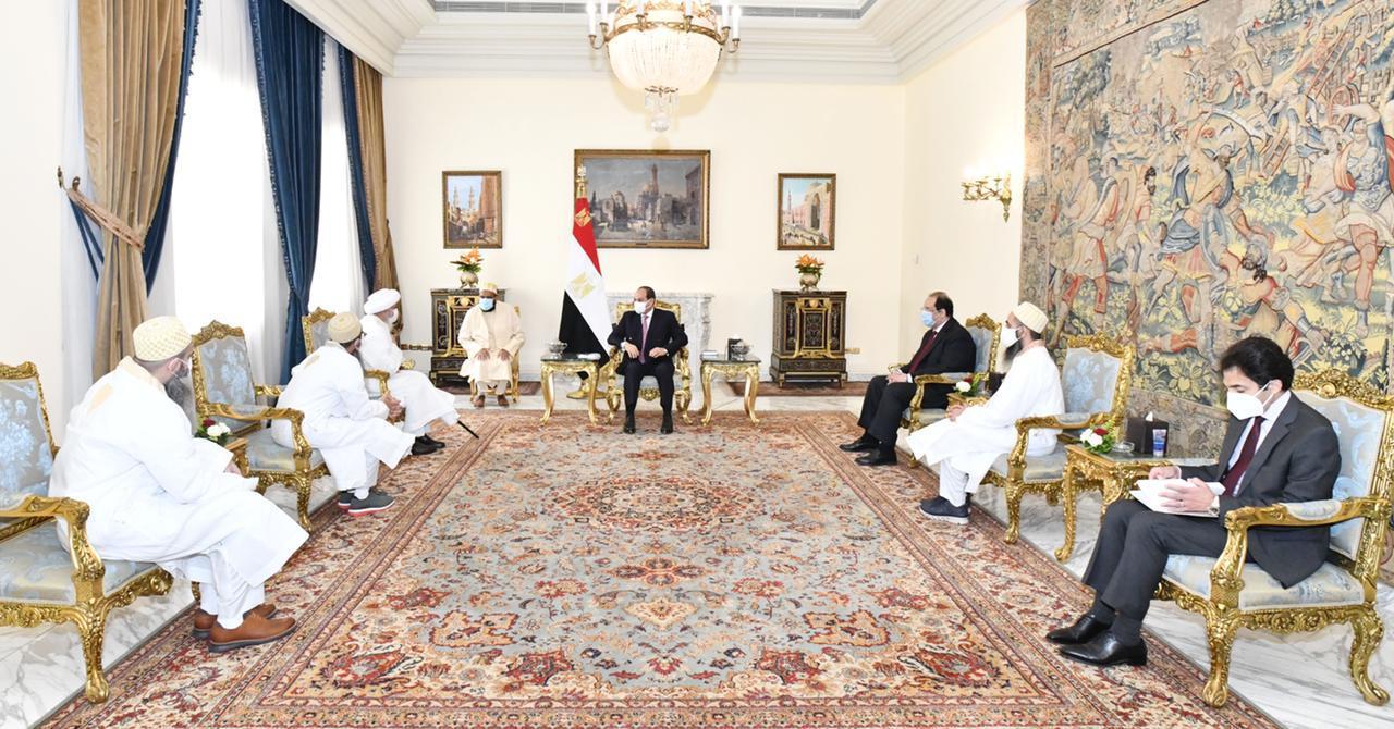"""الرئيس السيسي يستقبل سلطان """"طائفة البهرة"""" بالهند"""