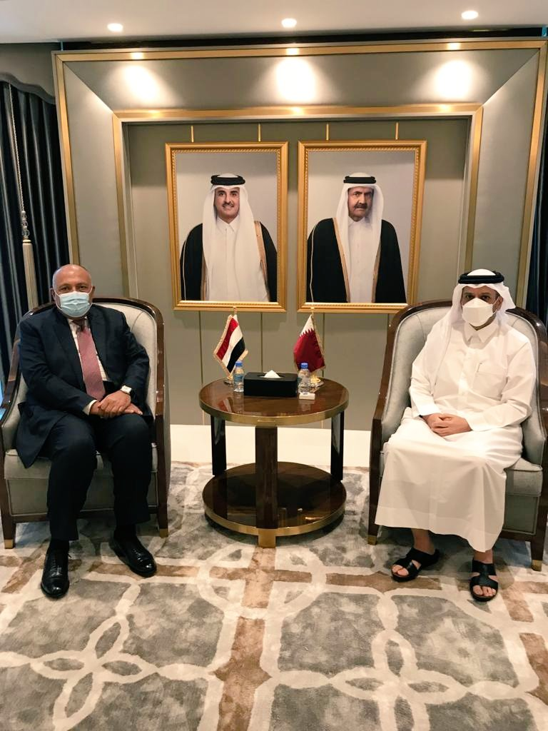 صور| مباحثات مصرية قطرية على مستوى وزيري الخارجية بالدوحة
