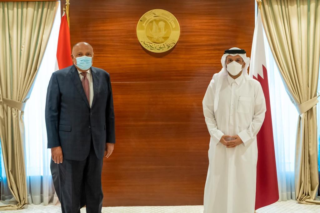 وزيرا خارجية مصر وقطر يعربان عن ارتياحهما للتطور الإيجابي للعلاقات بين البلدين