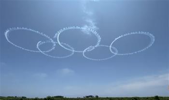 سلاح الجو الياباني يرسم حلقات الألعاب الأوليمبية في السماء استعدادًا لافتتاح أوليمبياد طوكيو