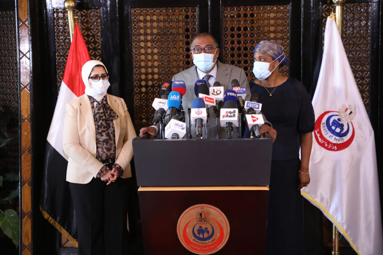 صور| مؤتمر وزيرة الصحة مع مبعوث الاتحاد الإفريقي لإعلان انضمام مصر لوكالة الدواء الإفريقية