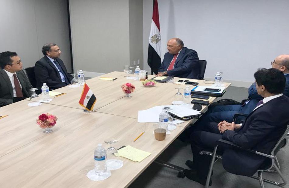 سامح شكري يلتقى مندوب الهند لدى الأمم المتحدة لعرض موقف مصر من سد النهضة
