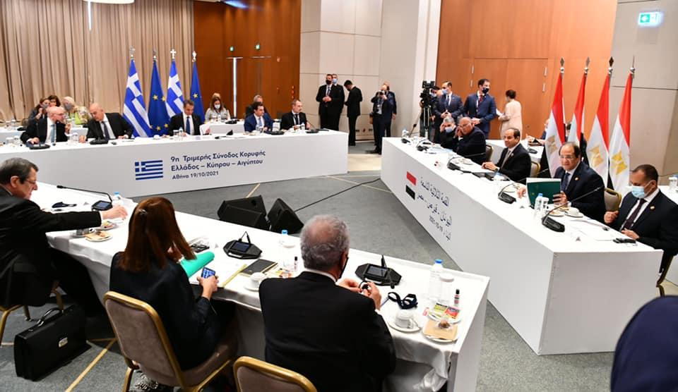 انطلاق جلسات القمة الثلاثية بين مصر وقبرص واليونان