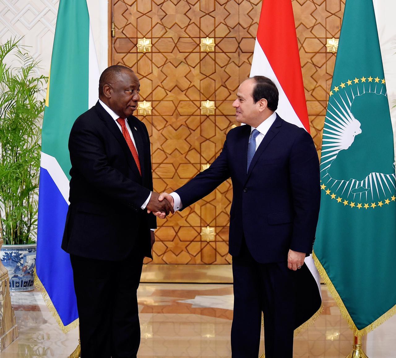 الرئيس السيسي لنظيره الجنوب أفريقي سير يل رامافوزا  استقبال رئيس جنوب أفريقيا