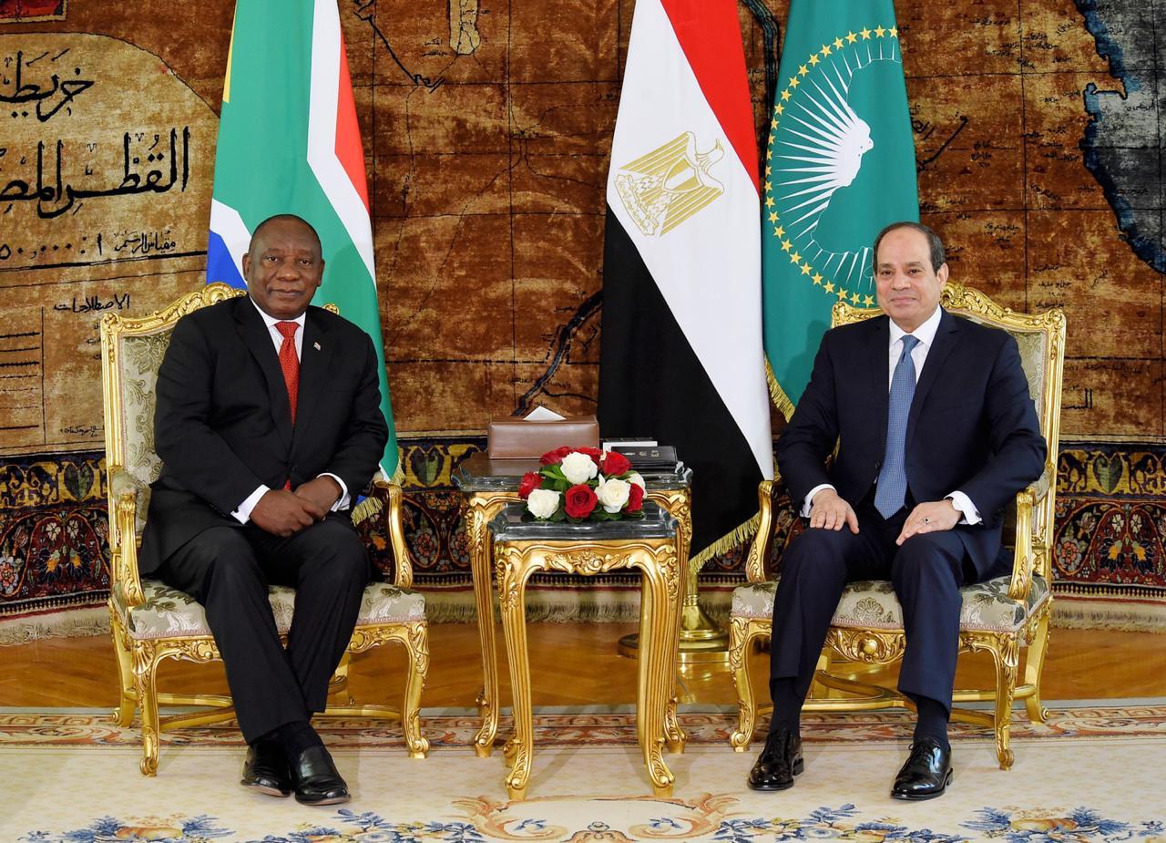 الرئيس السيسي لنظيره الجنوب أفريقي سير يل رامافوزا   استقبال رئيس جنوب أفريقيا4