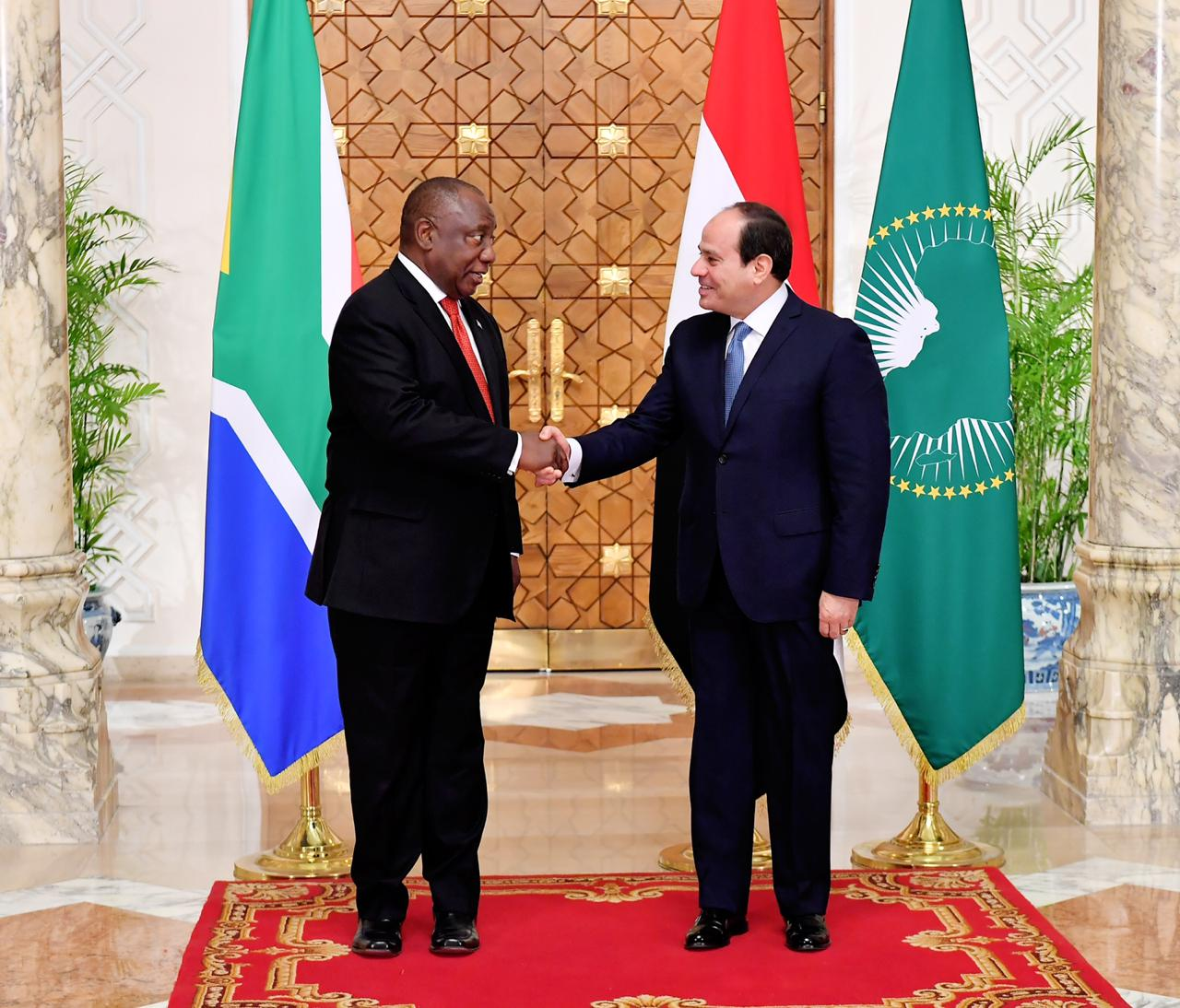 الرئيس السيسي لنظيره الجنوب أفريقي سير يل رامافوزا  استقبال رئيس جنوب أفريقيا7